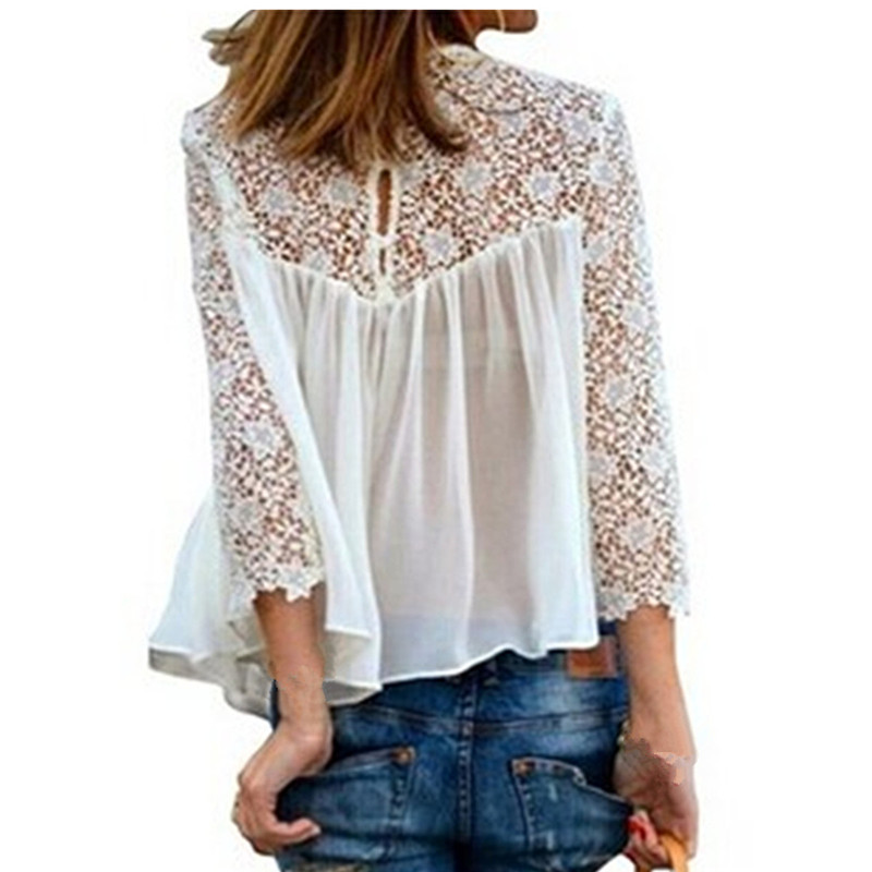 S-4XL Plus Sizes New Brand Top Quality 2015 Womens Lace Crochet Chiffon Blouses Shirt Tops Long Sleeve Sexy Women Clothing(China (Mainland))