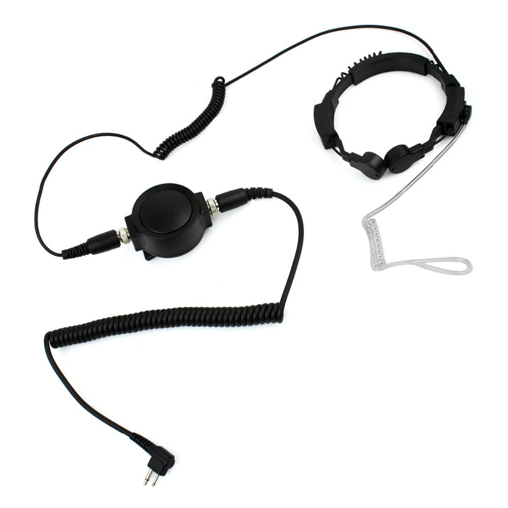 C1040A Black 2 Pin Military Covert Tactical IP54 Waterproof Big PTT Telescopic Throat Mic Earpiece Headset for Motorola Radio(China (Mainland))