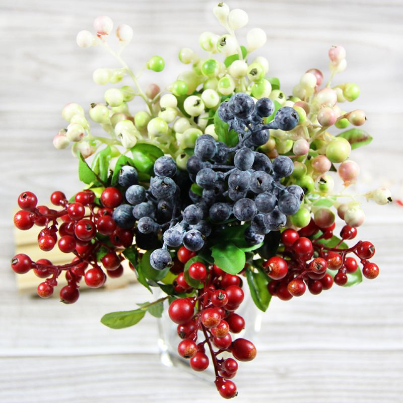 4 color 10pcs decorative blueberry fruit berry artificial for Artificial flowers decoration images