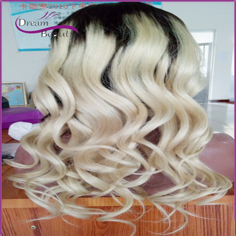 New style Ombre Blonde Full Lace Human Hair Wigs body wave Peruvin hair full lace wig Lace Front Human Hair Wig soft hair hot!