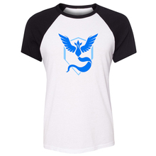 Summer T-shirt Pokemon Go Game Fans Articuno Team Blue Team Art Pattern Raglan Short Sleeve Women T shirt Girl Sports Tee Tops