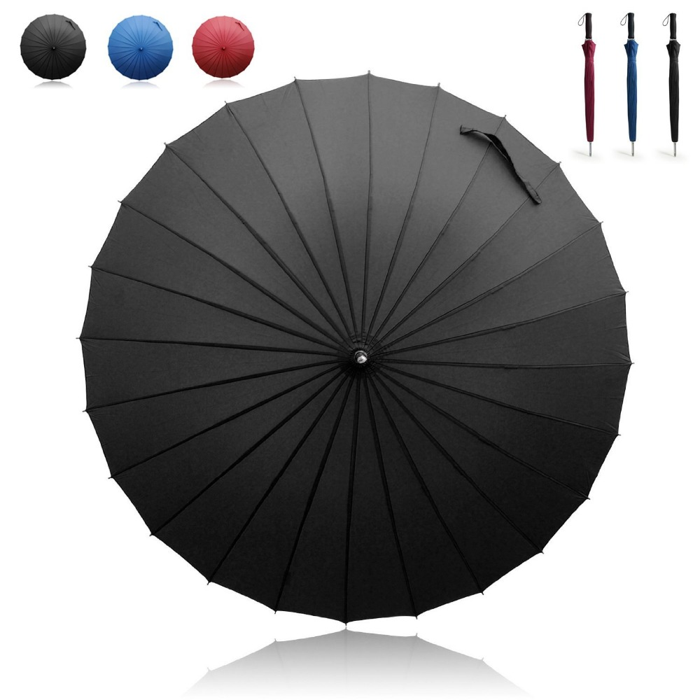 Manual Open & Close Umbrella Long Umbrella with 24 Ribs Durable and Strong Enough for the Wind and Rain Easy to Carry on New(China (Mainland))