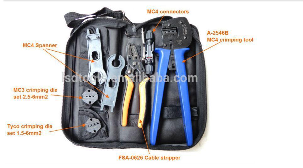 A-K2546B-4 Solar Tool Kit, solar crimping Tool set MC4 l crimp plier , cable stripper, MC4 spanner(China (Mainland))