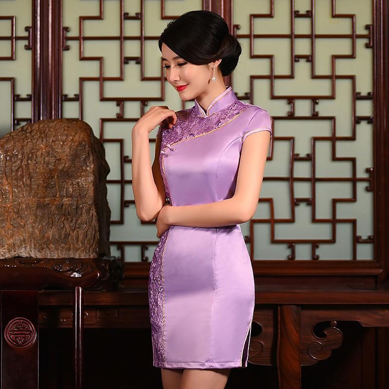 มาใหม่แฟชั่นแผนจีนชุดผู้หญิงผ้าไหมCheongsam QipaoมินิVestidoเดเฟสต้าขนาดSml XL XXL Z20160320 ถูก