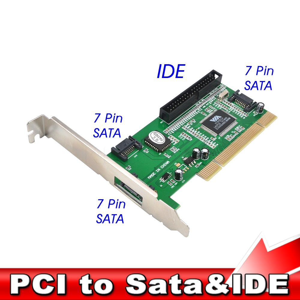 New High Quality New 3 ports SATA + IDE Serial HDD ATA PCI Card Converter Adapter for PC Tablet Computer 1.5Gb/s Data Rate(China (Mainland))