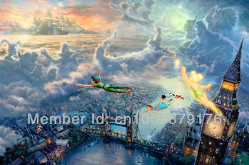 Thomas kinkade prints oil painting art print on canvas home decor wall art Tinker Bell And Peter Pan Fly To Neverland