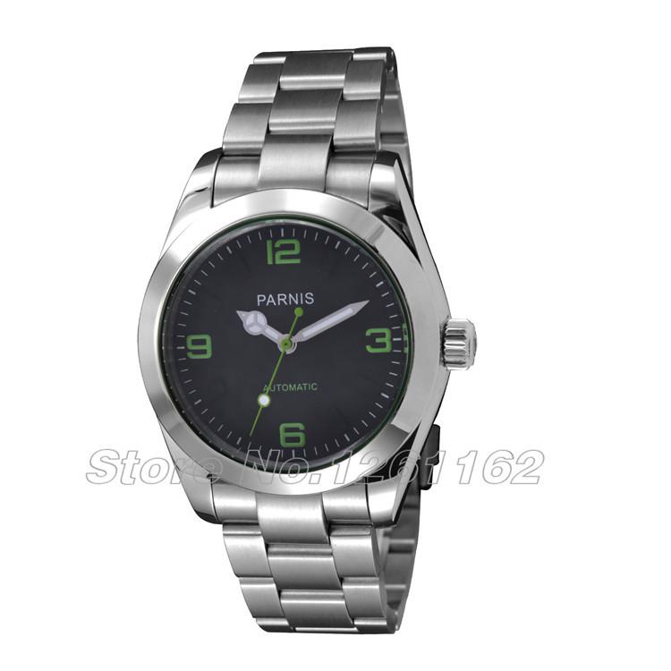 Envío gratis 40 mm Parnis verde caso marca negro Dial reloj automático para hombre PA-258(China (Mainland))