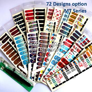 25Sheets of MT Series full cover water transfer nail art sticker decal + 1pcs tweezer + 5pcs sand rubs Nail art accessories