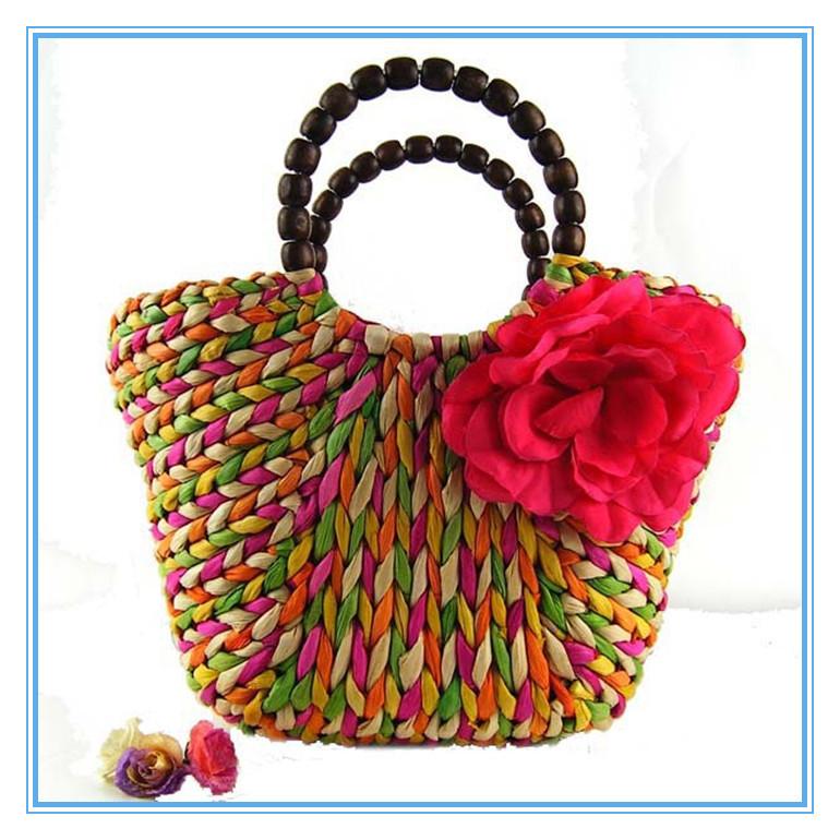 OS 2015 Large Flowers Straw Bag Fashion Rainbow Striped Handbag Women Lady Beach Bags(China (Mainland))