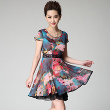 2015 Summer Printed Gauze Lace Slim Waist Short-Sleeve Dress Beaded Neckline Short Dresses
