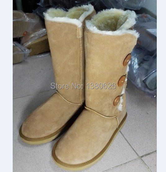 wholesale!New Fashion women snow boots bailey button real leather Australia classic tall shoes botas femininas botte femme(China (Mainland))