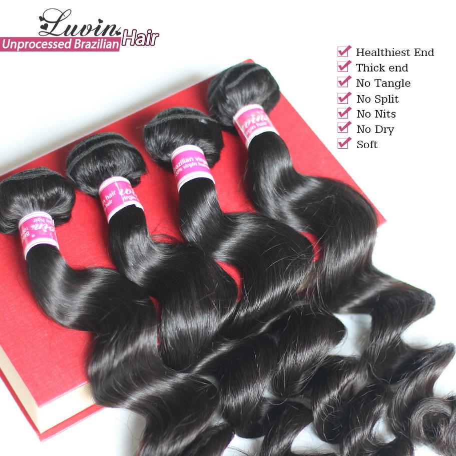 2Pcs/Lot Brazilian Virgin Human Hair Loose Wave Grade 6A 100% Unprocessed Brazilian Remy Hair Weaves Luxy Hair Free Shipping(China (Mainland))