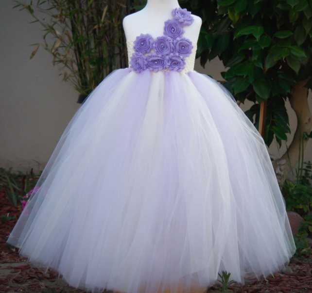 Princess Flower Girl Dresses Ivory and Lavender with Flowers Girl Tutu Dress For Wedding Birthday Party Holiday(China (Mainland))