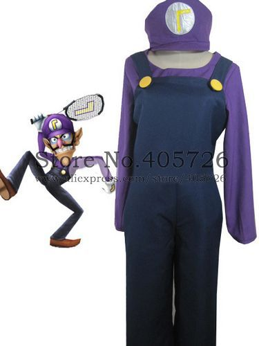 Top-grade Super Mario Bros Waluigi Cosplay Costume(China (Mainland))