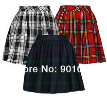 Free shipping Short Sexy Pleated Tartan Mini Skirt Micro Mini Skirt Kilt size S-6XL