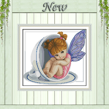 A little angel in the cup baby girl paintings counted print on canvas DMC 11CT 14CT kits Cross Stitch embroidery needlework Sets