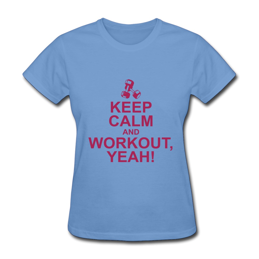 Women tshirt short sleeve keep calm and workout yeah for Design your own workout shirt