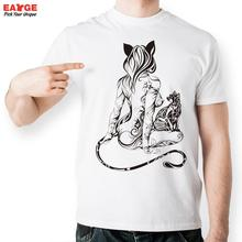 Sexy Strip Tail Cat Girl T Shirt Design Inspired By Fashion Tattoo T-shirt Cool Casual Novelty Tshirt Unisex Printed Style Tee
