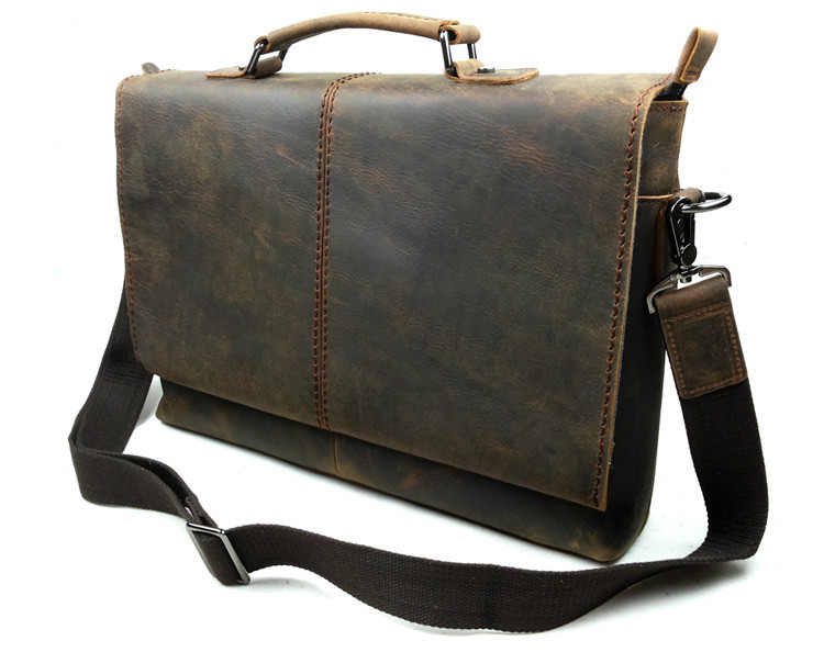 Vintage Genuine Leather Cowhide Crazy Horse Men Business Handbag
