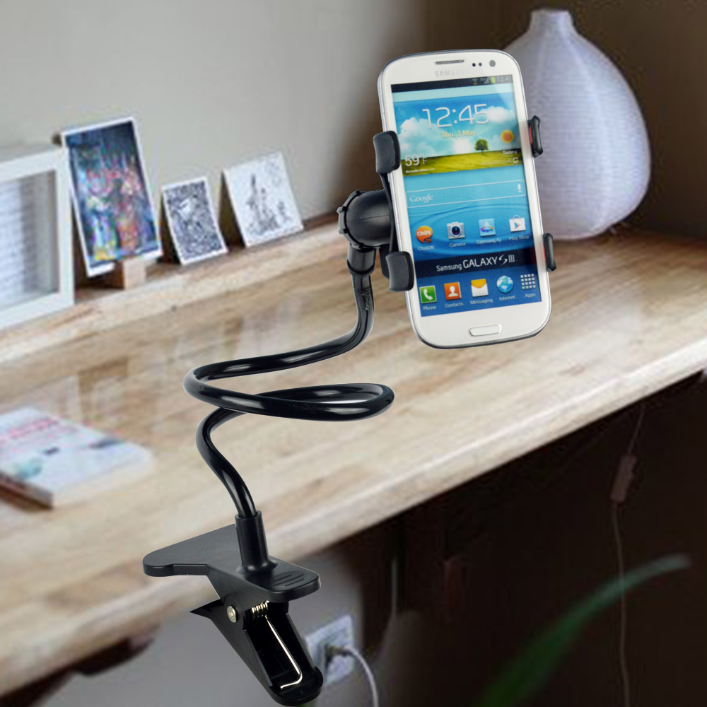 360 Rotating Flexible phone holder Lazy Bracket Desk Table Holder Double Clip Phone Mount Stand for Xiaomi Redmi 3 for iPhone(China (Mainland))