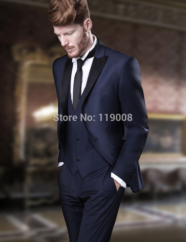 New Arrival Two Buttons Navy Blue Groom Tuxedos Groomsmen Mens Wedding Prom Suits Custom Made (Jacket+Pants+Vest+Tie) K:192Одежда и ак�е��уары<br><br><br>Aliexpress
