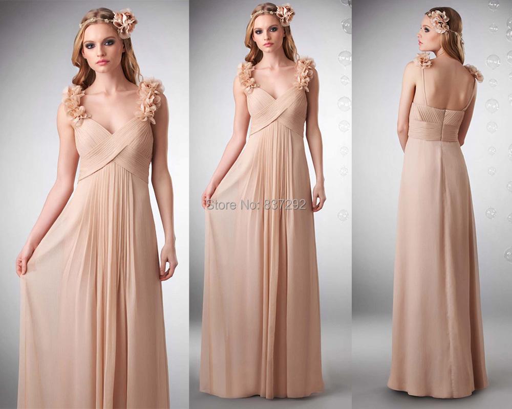 champagne chiffon long wedding party dress flowers cheap bridesmaid dresses pleat robe. Black Bedroom Furniture Sets. Home Design Ideas