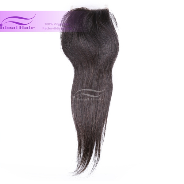 Grade 6A Brazilian Virgin Hair straight Top  lace closure straight free style4*4 swiss lace with bleached knots color1b<br><br>Aliexpress