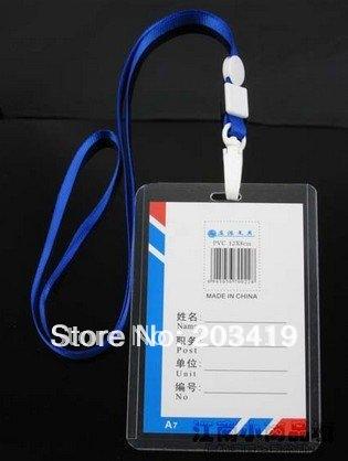 Гаджет  Vertical Neck Strap lanyard sling ID Badge Holders PVC name card case certificate plastic Horizontal strap   wholesale retail None Офисные и Школьные принадлежности