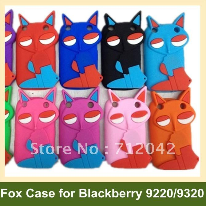 Soft Case for Blackberry 9320 3D Fox Pattern Silicone Cover Case for Blackberry Curve 9220 9320 25pcs/lot Free Shipping(China (Mainland))