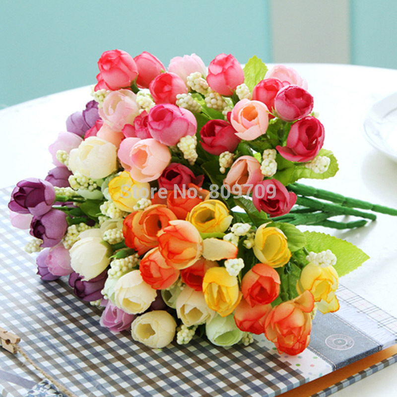 6pcs Artificial Silk 15 Mini Spring Roses Rose Bud Flower Arrangement Plant Household Adornment Wedding Home Party Decoration