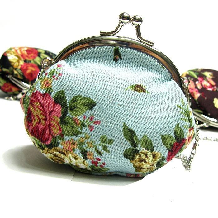 Ретро дизайн прекрасный цветочные нулевой бумажник девица ручной переноски кошелек монет хлопчатобумажная ткань кошелек N00715
