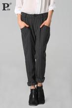 New Stylish Lady Women Bottoms Hot Sale Striped Full Length Pants Slim Casual OL Trousers Gray(China (Mainland))