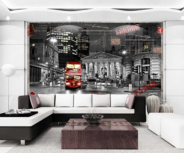 Custom 3d photo London night street design 3d wallpaper seamless large mural TV background 3d wall paper bedroom living room(China (Mainland))