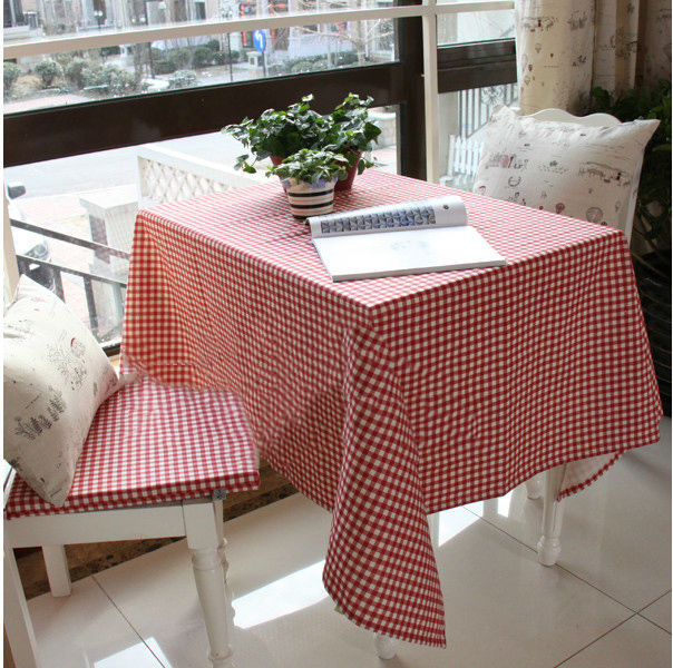 Geometric Table Cloth Red Lattice Table Cover Linen And Cotton Fresh Style Classical Tablecloth Many Sizes High Quality(China (Mainland))