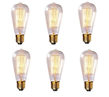 6 Bulbs Tungsten110V/220V 40W/60W E26/E27 antique edison bulb/vintage edison bulb decorate pendant light bulb for living room(China (Mainland))