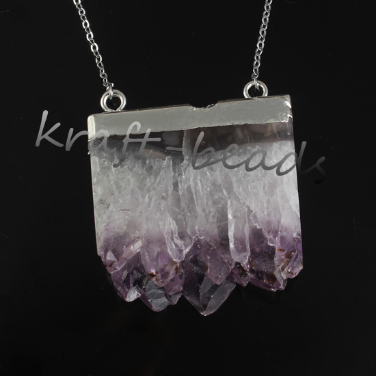 Silver and silver natural amethyst pendant Druzy slice.Amethyst crystal pendant, jewelry Druzy 10/ a lot