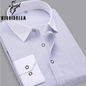 2015 New Arrival Men Autumn Solid Shirts Men Striped Formal Dress Shirts Camisas Hombre Chemise Homme 38 39 40 41 42 43 44