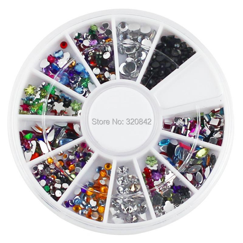 12 colors Nail supplies DIY 3d nail art Decoration mixed acrylic diy nail art wheel tools drill shiny diamond jewelry(China (Mainland))