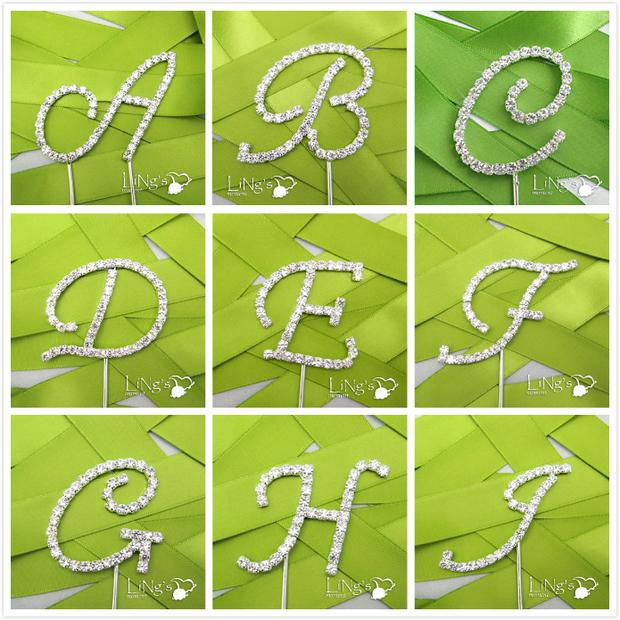 1pcs high quality new design Wedding Cake Toppers letter a-z crystal Wedding Cake decoration wedding favor party Supplies(China (Mainland))