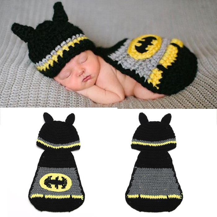 Batman Designs Baby Infant Animal Crochet Knitting Costume Soft Adorable Clothes Photo Photography Props for 0-12 Month Newborn(China (Mainland))