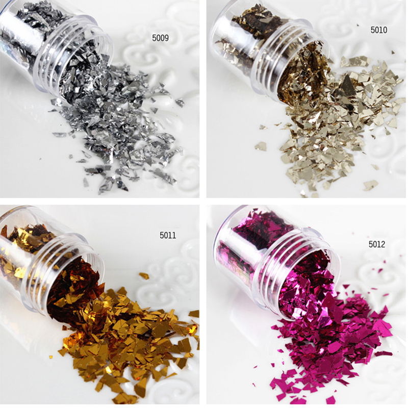 10ml/Box Nail Sequins Gold Silver Champagne Rose Red Glitter Tips Nail Art Decoration 5009-5012(China (Mainland))
