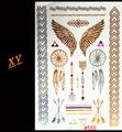 Back feathers Temporary tattoo gold tattoo sex products henna bracelet tattoo metal women flash metalic gold