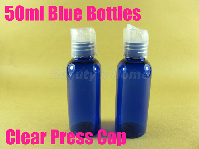50ml Press cap Blue bottle comestic make container small/empty bottles #2096 - Packing Supplier(Bottles and Jars store)