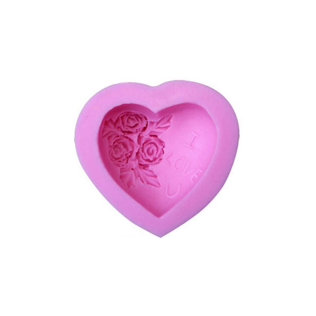 Random Loving Heart Rose Flower Silicone Soap Mold Cake Decorating Sugarcraft Cupcake 3D Mould New(China (Mainland))