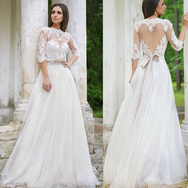 Long sleeved plus size wedding dresses