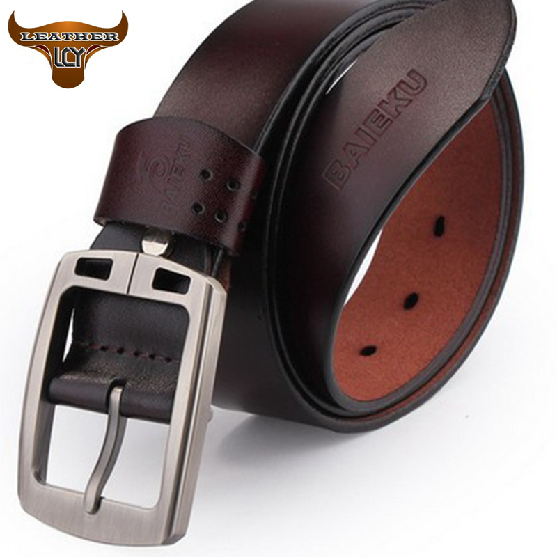 100% Cowhide Genuine Leather Belts for men BAIEKU Brand Strap Male Pin Buckle Fancy Vintage Jeans Cowboy cintos LB078(China (Mainland))