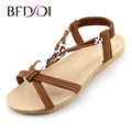 BFDADI Women Sandals 2016 Ankle Strap Shoes Women Flat Sandals Narrow Band Summer Shoes Beaded Girl