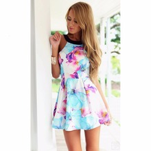 2015 New Arrival Summer Casual Women Dress Print Floral Sexy Backless Sleeveless Dresses Spaghetti Strap Dress(China (Mainland))