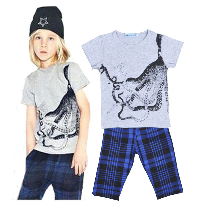 Wholesale boys clothing Set for NUNUNU Printed Icons octopus summer gray  Short Sleeve shirt Tops+ Plaid Pants Leisure suit kids<br><br>Aliexpress
