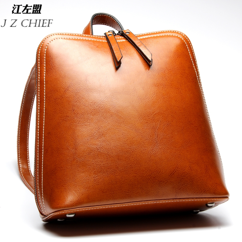 Preppy Style Genuine Leather School Backpack   Vintage Lady Backpack High Quality Cow Leather Women Bags